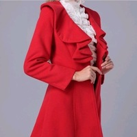 New Fashion Knitting Y195 2014 winter wool coat for women blends oversized warm tweed jackets wholesale and retail FREE SHIPPING