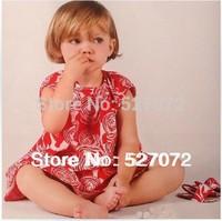 high end!2014 summer fashion designer girl's dress with printing ,European brand design girl's flower dress