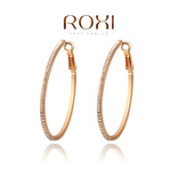Ladies Fashion Dinner Ornaments Crystal Hoop Earrings,18K Rose Gold Plated Stud Earrings For Women Jewelry