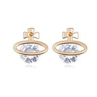 Classic Luxury Bride Fashion CZ Diamond  Cubic Zircon Stud Earrings Punk Accessories Jewelry For Women 18K Gold Plated