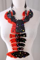 Liger diamond lobster necklace