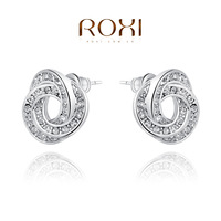 18K Platinum-plated Petals Earring,Classic Series Transparent Crystal Stud Earrings Best Gift To Girlfriend