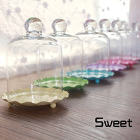 *Free Shipping* Dorable Multicolour mini cake pan pastry stand with glass dome Cupcake Stand wedding ( 8 sets)