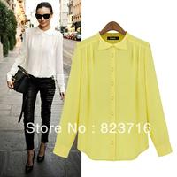 Free shopping 2014 spring and autumn women plus size chiffon shirt fashion all-match women's chiffon shirt