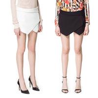 New Fashion 2015 Black/White Chiffon Women Ladies' Shorts Irregular AsymmetricTiered Mini Skorts Summer Culottes Short skirt M/L