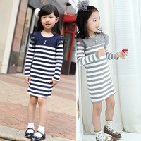 5 pcs/lot girls spring autumn navy stripe dress girls casual dress,1516