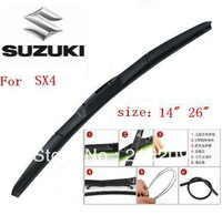 "Free shipping car wiper blade for SUZUKI SX4  size 14""  26"" Soft Rubber WindShield Wiper Blade 2pcs/PAIR deflector window"