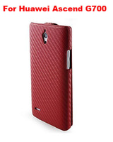 Slim Flip Cover Carbon Fiber Case Leather Case Mobile Phone Case  For  Huawei Ascend G700