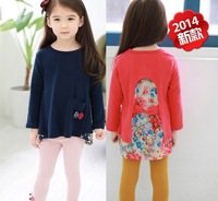2014 Fashion girl long sleeve T shirt children cotton wool lycra jumper tops child tees kids clothing