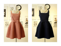 Fashion vintage bow puff elegant sweet vest one-piece dress baby dress