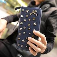 Accidnetal long design wallet vintage 2013 male women's fashion rivet multi card holder wallet clutch