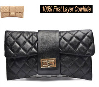 High Quality Fashion Bowknot Shape Evening Bag 100% First Layer Cowhide Dual Function Day Clutches Quilted Chain Bags for Women