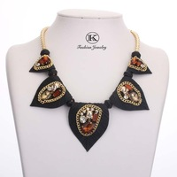New 2014 big resin crystal clusters flower necklaces spike chunky necklaces & pendants women Statement Bib Choker