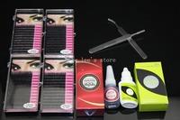 Free Shipping Professional Makeup False Eyelashes Extension Kit Mini Set Curling Lashes+Eyelash Glue+Tweezers Cosmetic Wholesale