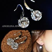 FREE SHIPPING~New Jewelry Fashion 925 Silver Sterling Super Shinning AAA Zircon Princess Drop Earring