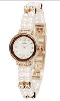 Famous Brand Korea JULIUS Women Dress Watches, Quartz Luxury Pearls Bracelet Bangle Strap Fashion Watch JA-637