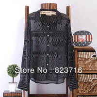Free shopping women fashion polka dot plus size clothing long-sleeve chiffon shirt