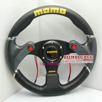 Personality!HOT!!13inches MOMO PU PVC Steering Wheel, racing car steering wheel Aluminum alloy,Three horn button,EK10716