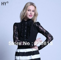 2014 New Women High-Quality European And American Stand-Up Collar Long-Sleeved Shirt Slim Ladies Flounced Lace Shirt S-XXL