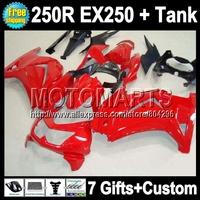 7gifts+Tank all red ZX250R For Kawasaki Ninja EX250  250R 17Q62 glossy red 2008 2009 2010 2011 2012 250 08 09 10 11 12 Fairing