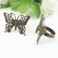 FreeShipping!!! Antique Copper adjustable Ring Base butterfly  Finding 19MM!!!