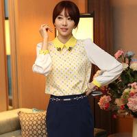 2014 Hitz korean fashion women blouse lace chiffon casual long-sleeved yellow dots shirt chifon blusas femininas camisa