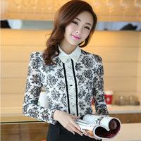 2014 korean spring women chiffon lace shirts long sleeves shirt female porcelain printing blouses chifon blusas feminina renda