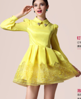 2014 spring autumn winter new fashion female peter pan collar organza evening dress slim long sleeves lace dresses