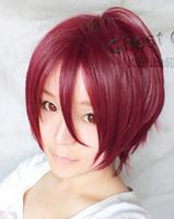 Rin Matsuoka Burgundy Short Anime Cosplay Costume Wig,Free Shipping