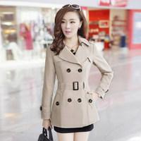 2014 spring design short outerwear fashion slim all-match turn-down collar trench 100% women's cotton outerwear
