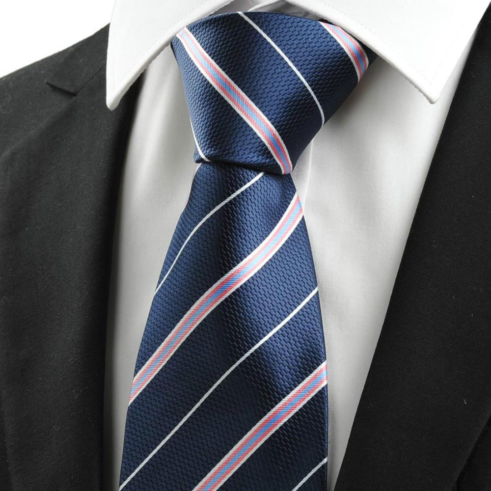 New arrival pink white striped navy blue jacquard men s tie necktie