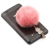 Fur ball dust plug pendant mobile phone dust plug  for apple   earphones 4s plug rhinestone