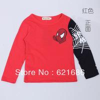 Wholesale 2014 spring new children child kids clothing cartoon spiderman 5pcs lot boys cotton long sleeve t shirt 100-140