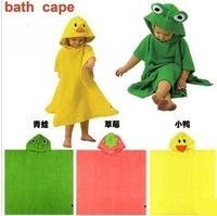 Free shipping new 2014 baby bath towel towel with hood child hooded 100% cotton animal cartoon bathrobe kids robe