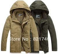 2014 new men jacket cotton plus fertilizer 3XL 4XL 5XL 6XL plus size long section detachable cap padded winter fashion men coat