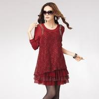 2013 big size  autumn clothing big size irregular skirt one-piece dress o-neck long-sleeve clothing q90