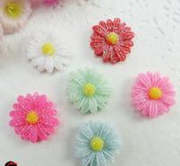 35pcs/lot 20mm New Kawaii Flatback Resin Glitter Sunflower Mix colors free shipping