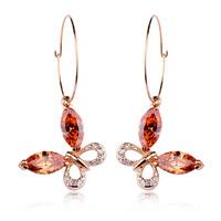 Simple design women jewelry/ Austria cystal butterfly 18k real gold plated drop earrings WL0598