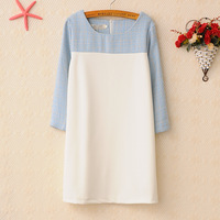 2014 Korean Good Quality Spring Outfit Lady Dress OL Patchwork Winter Dress Straight Dress Blue + White Color S M L