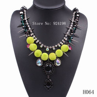 Min. order $10 fashion designer necklace luxury punk long spike women statement necklace for spring free shipping