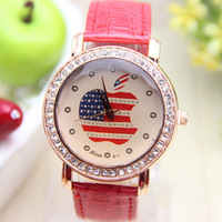 11 colors Fashion leather Diamond USA flag Shinning Colored Woman Watch women dress watches 1pcs/lot