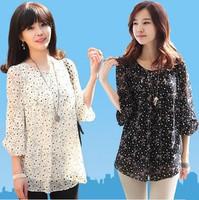 778 XXXL XXXXL Plus Large Size 2014 Spring Summer Fashion Women'S Chiffon Blouse Loose Fat MM Dot Lace Shirts Transparent Office
