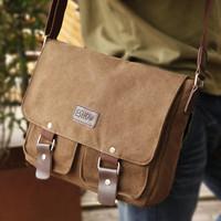 Canvas men shoulder bag fashion vintage male messenger bag casual student school bag horizontal