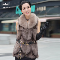 2014 fur vest fox fur coat medium-long vest  Y9P0
