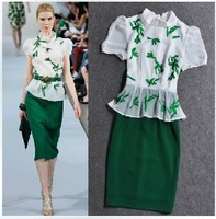 2014 new spring summer silk embroidered fashion short sleeves dress ol elegant belt professional euro big brand star dresses