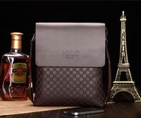 Hot POLO Men's Business checkerboard high quality leather casual shoulder bag Messenger bag ipad bolsa sacs bolso free shipping
