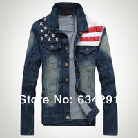 American flag jeans Jacket for men jaket coat  veste homme varsity  jaqueta college chaqueta hombre jacket