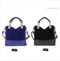 2014 new rivet package stitching flannel bag shoulder bag brand fashion Rivet Studded Messenger Bag