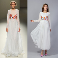 2014 spring new fashion star full dress fairy women's perspectivity white lace long sleeves dress long maxi silk dresses
