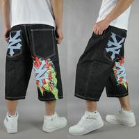 Hiphop hip-hop hiphop jeans loose offset printing letter pattern denim capris